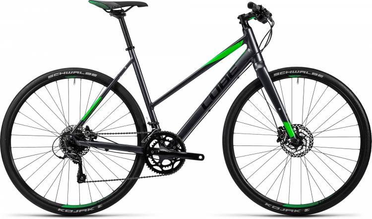 Cube SL Road Pro grey black flashgreen Damen - Trapez 2016