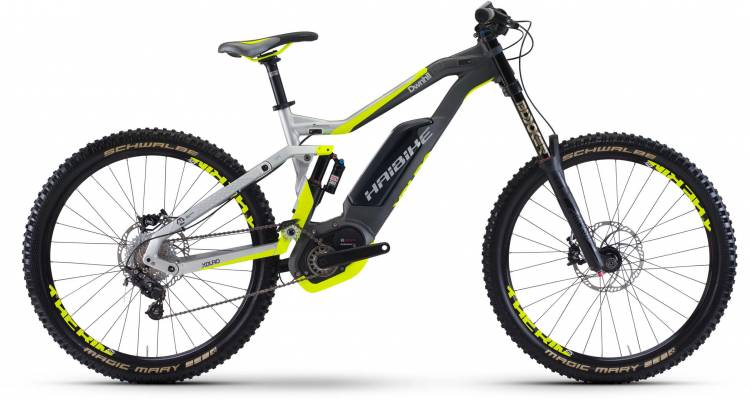 Haibike XDURO DWNHLL 8.0 500Wh silber/anthr./gelb matt 2017 - E-Bike Fully Mountainbike