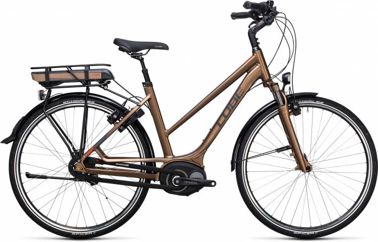 Cube Travel Hybrid 400 havanna brown n orange 2017 - Touring E-Bike Women Trapezium