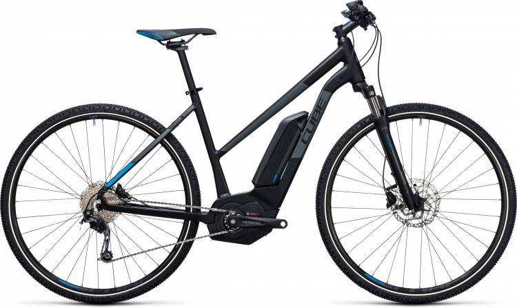 Cube Cross Hybrid Pro 500 black n blue Damen Trapez 2017