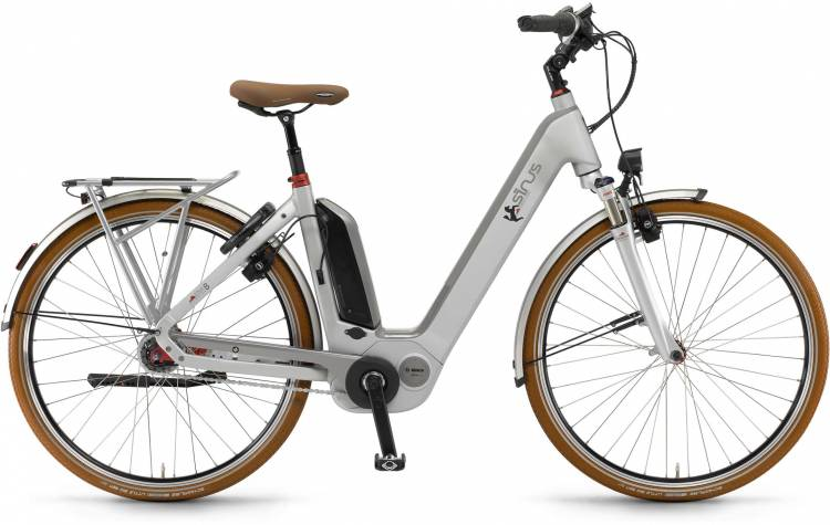 "Sinus Ena8 500Wh 28"" RT silber matt 2017 - Touring E-Bike Easy Entry"